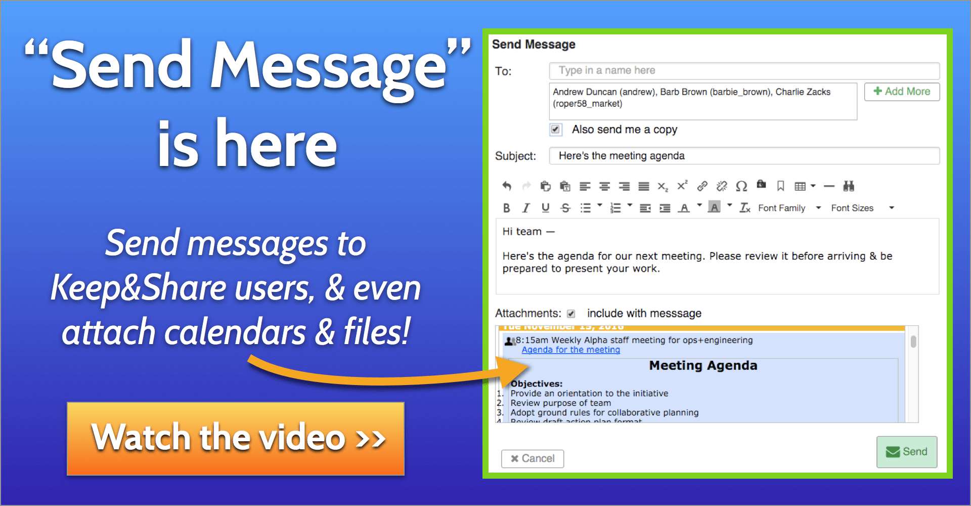 Image is not displayed: Click here to watch the video tour introducing Send Message