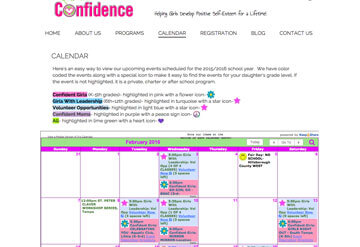 Girls with Confidence event calendar