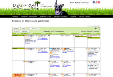 Dog Gone Right classes calendar