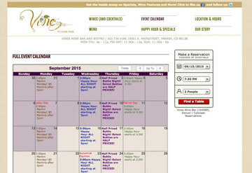 Vines Wine Bar event calendar