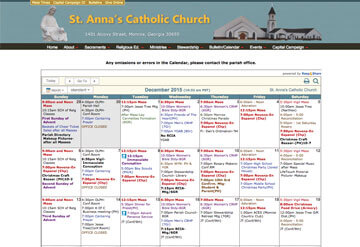 St. Anna's Catholic Church calendar