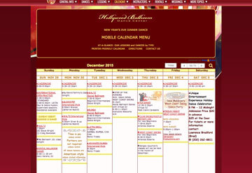 Hollywood Ballroom dance class calendar