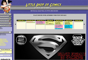 Little Shop of Comics calendar