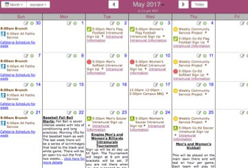 College events calendar
