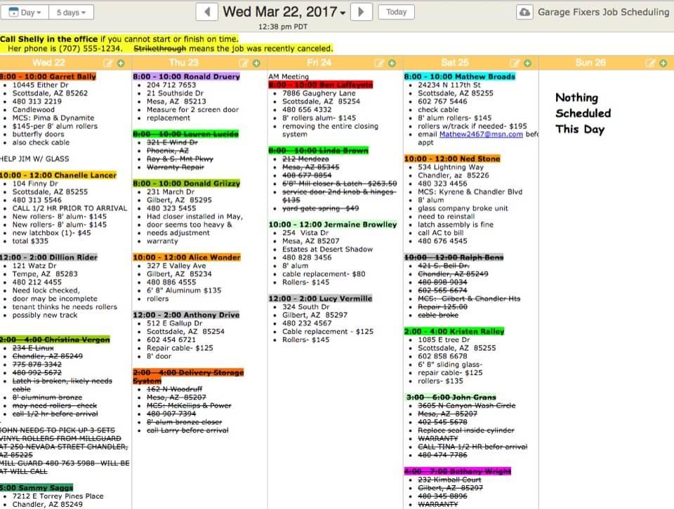 work scheduling calendar