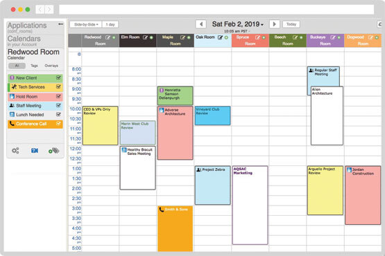Side-by-side conference room booking calendar