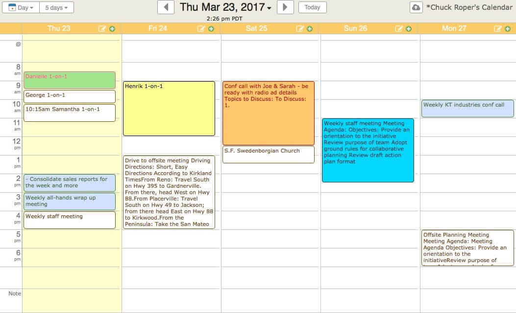 Create a weekly calendar for Create planner online