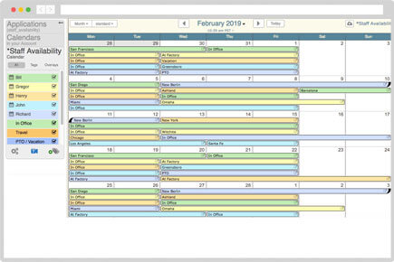 Office staff scheduling calendar