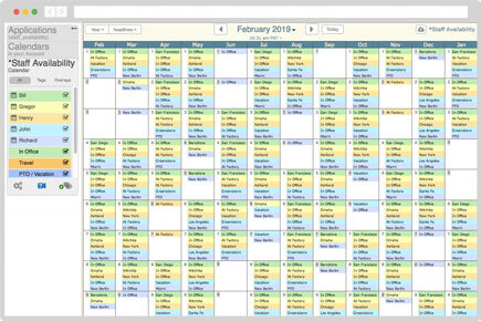 Staff availability calendar